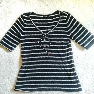 Lucky Brand striped top,navy/white light airy